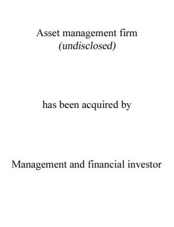 Asset Management firm acquired by Management