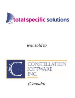 Total Specific Solutions was sold to Constellation Software Inc.