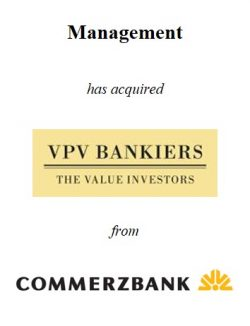 Management buy-out VPV Bankiers from Commerzbank (Germany)