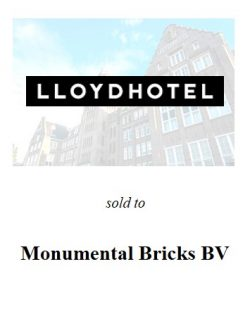 Founders of Lloyd Hotel sold their shares to Monumental Bricks