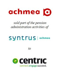 Syntrus Achmea Pensioenbeheer sold part of its pension administration activities to Centric
